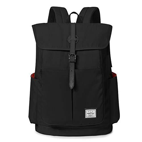 Wind Took 15,6 Zoll Laptop Rucksack Backpack Daypack Schulrucksack Notebook Damen Herren mit USB Anschluss für Uni Arbeit Campus Freizeit, 31 x 16 x 41 cm, Schwarz