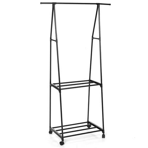 TEET Perchero para ropa 3 en 1 de metal, organizador de armario, estante portátil, estante de almacenamiento de ropa, para casa, oficina, interior (tamaño: 35 x 15.6 x 62 pulgadas; color: negro)