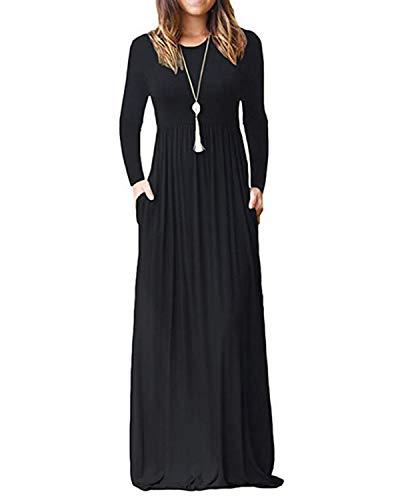 Kidsform Robe Longue Femme Automne Hiver Casual Robe Maxi à Manche Longue Col Rond Chic Pull Robe de Soirée Grande Taille A-Noir 38 EU (Fabricant: Taille M)
