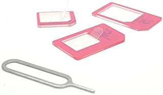 Cismax HD【Amazon即日出荷 】Ciscle 落下防止機能付Nano SIM MicroSIM 変換アダプター 4点セット ピンク色 iPhone6S/6/6plus/5S/5C/4S/4/3GS/3用STD xperia スマホ ...