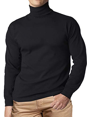 Men Turtleneck Shirt Long Sleeve Turtle Mock High Neck Shirts Tshirt Top Casual Knitted Pullover Slim Fit Basic (Black, L)
