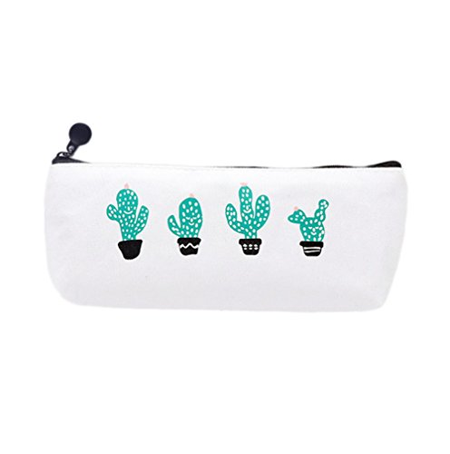 Hosaire Four Brief Style Green Cactus Canvas Large Capacity Pencil Bag Stationery Storage Organizer Case School Supply
