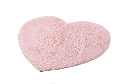 Biancheria Store Alfombra con forma de corazón, 55 x 70 cm, 100 % algodón, alfombra de cama con corazón suave, lavable a máquina, color rosa