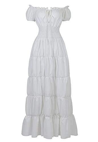Haorugut Womens Renaissance Medieval Irish Costume Over Dress Smocked Waist Retro Gown Cosplay White S