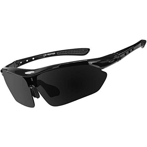 [ラドウェザー]サングラス メンズ 偏光レンズ 12点セット 滑り止め 衝撃吸収 汗止め ネックストラップ (黒)