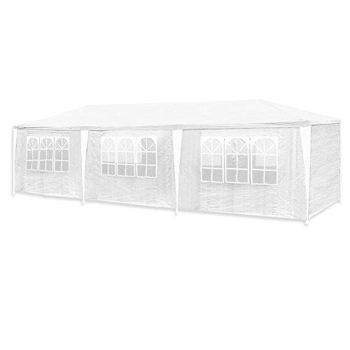 huigou HG® 3x9m Festzelt Weiß Pavillion Vereinszelt Polyethylen Stahlrohre mit 6 Seitenteilen und 2 Eingängen Wasserdicht inkl. 6 abnehmbaren Seiten