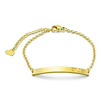 THREE KEYS JEWELRY J Cute Alphabet Dainty Small Pendant Disc Letter Charm Gold Cool Dainty Stainless Steel Initial Bracelets for Women