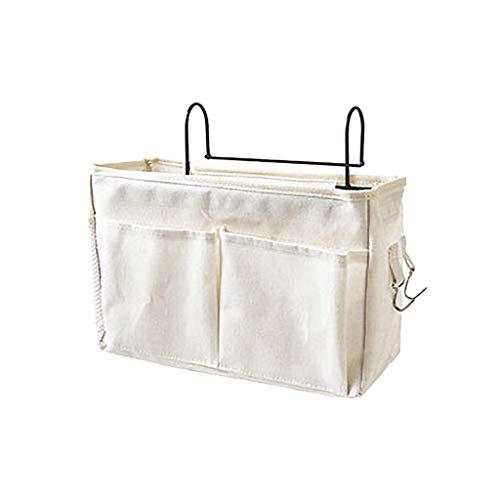 IsMoon Betttasche Bett Organizer Bett Tasche 4 Fächer mit Darhthaken Hängetasche Hochbett Aufbewahrungstasche für Buch, Magazin, Handy, Kopfhörer Bett Aufbewahrung (Beige)