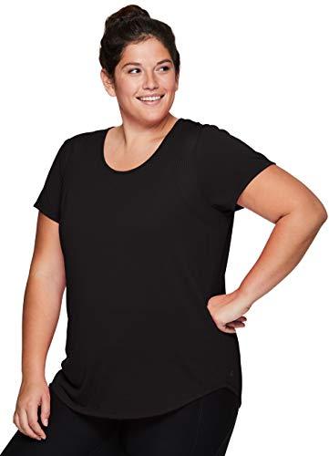 RBX Active Women's Plus Size Fashion Mesh Back Short Sleeve