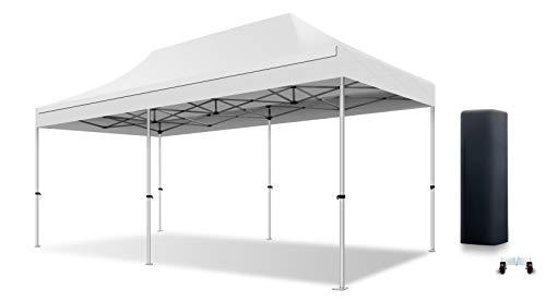 ACTIEXPRESS Tente Pliante 3X6 Structure en Aluminium 40mm Toit 300g/m² qualité professionelle (Blanc)