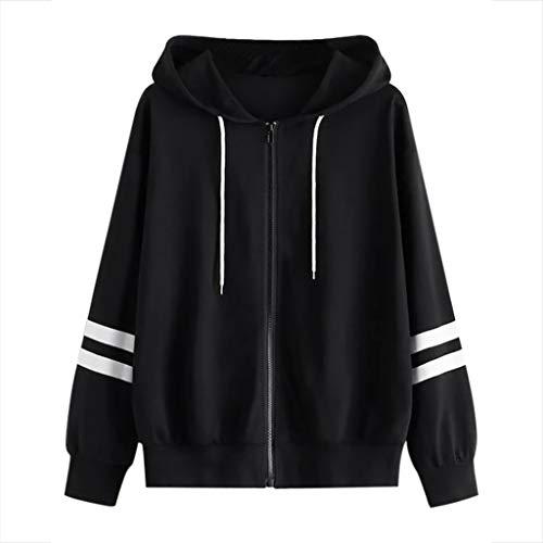 Linkay Sweatjacke Damen Pullover Jacke Hoodie V Ausschnitt Pulli Sweatshirt Kapuzenpullover Einfarbig Oberteile mit Kordel und Zip (Schwarz,Large)