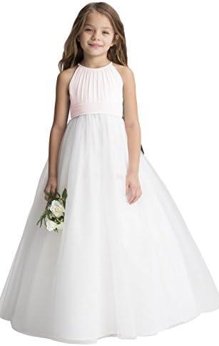 Chiffon Tulle Flower Girl Dress Junior Wedding Bridesmaid Dresses of Flower Girl A line Blush product image