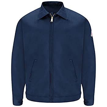 Bulwark Flame Resistant 9 oz Twill Cotton Excel FR Regular Zip-In and Zip-Out Jacket Navy Large