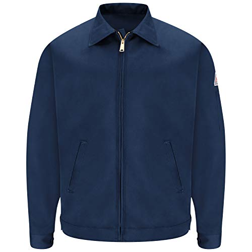 Bulwark Flame Resistant 9 oz Twill Cotton Excel FR Long Zip-In and Zip-Out Jacket, Navy, Large