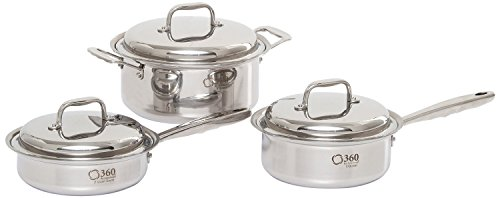 360 Stainless Steel Cookware Set, Handcrafted in the USA, Induction Cookware, Waterless Cookware, Dishwasher Safe, Oven Safe, Surgical Grade Stainless Steel Cookware, Pots and Pans Set (6 Piece Set)