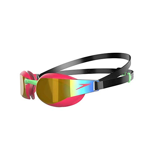 Speedo Gafas Fastskin Elite Mirror junior unisex, Negro/Phoenix Red/Dorado