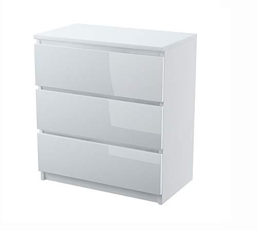 HAAG Kommode weiß Hochglanz 3 Schubladen Schrank Sideboard Highboard Mehrzweckschrank
