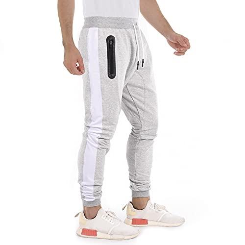Pantaloni Sportivi Uomo Cotone Jogging Casual Pantaloni Tuta Elasticizzati Laterali con Tasche Zip Addestramento in Esecuzione Fitness,Grigio Chiaro M