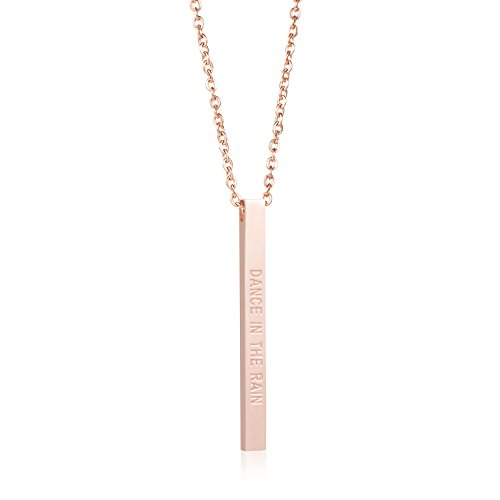 Joycuff Encouragement Gift Rose Gold Vertical Bar Necklace Personalized Daily Reminder Inspire Dance in The Rain