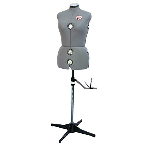 SINGER | Grey Dress Form Fits Sizes 10-18, Foam Backing for Pinning, 360 Degree Hem Guide - Sewing Made Easy