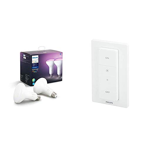 Philips Hue White and Color Ambiance 2-Pack BR30 LED Smart Bulb, Bluetooth & Zigbee Compatible (Hue Hub Optional) & Smart Dimmer Switch and Remote (Requires Hue Hub, Installation-Free, Smart Home)
