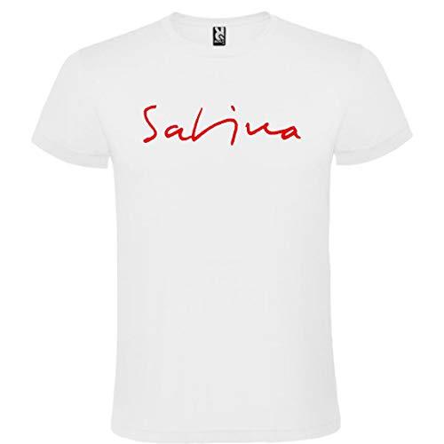 ROLY Camiseta Blanca con Logotipo de Joaquín Sabina Hombre 100% Algodón Tallas S M L XL XXL Mangas Cortas (XL)