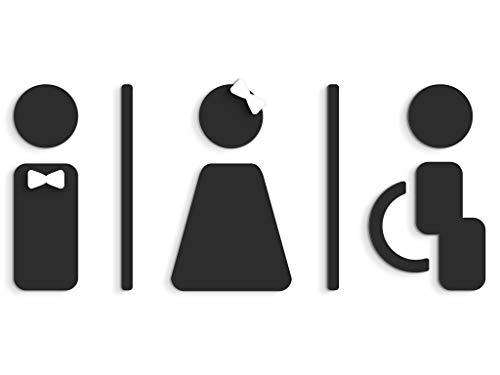 3DP Signs - Targa Bagno a Rilievo (15 cm) - Set Adesivo Toilette di Design SA120 - Targhette Bagno Uomo Donna Disabile - Adesivi Bagno disabile Restroom (Prime Nero)