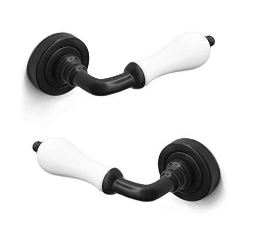 ARCO · Juego de manillas para puerta, color negro con porcelana blanca · Fabricado en España