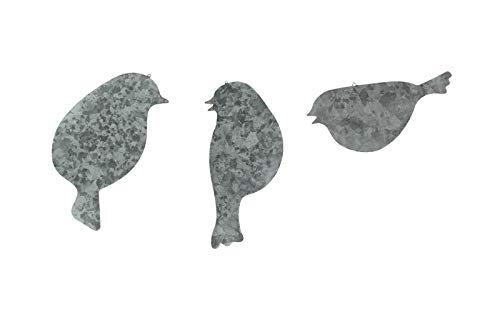 Set of 3 Galvanized Finish Bird Silhouette Metal Hanging Ornaments - Favorite Decor Store