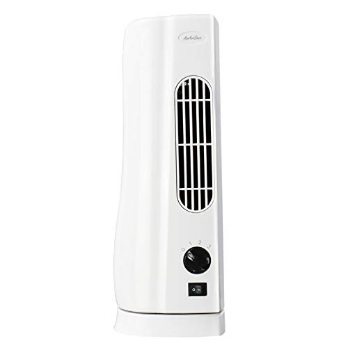 AirArtDeco Mini Tower Fan, 15 Inch Portable Small Personal Electric Desk Table Fan with 3 Speed Settings, 100 Degrees Oscillating, Ideal for Desktops, Bedroom and Office, White