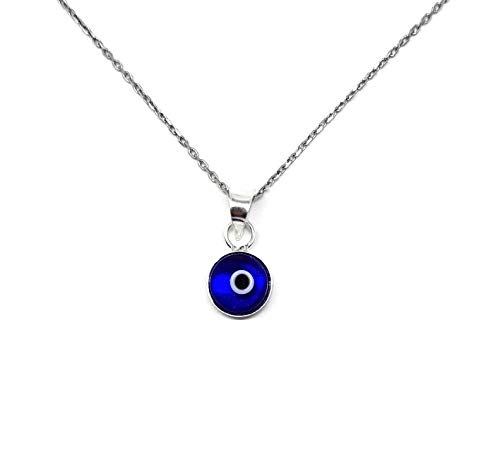 MYSTIC JEWELS By Dalia – Collana contro il malocchio di cristallo blu, come portafortuna – In argento Sterling 925 – Collana da 40 a 45 cm di lunghezza, come regalo per proteggere dal malocchio