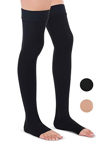 Oberschenkelhohe Kompressionsstrümpfe Blickdicht – Kompressionsstrümpfe 20-30 mmHg offene Zehen Knie Medizinische Reißverschluss-Socken Reißverschluss Beinstütze Unisex (Schwarz, XL)