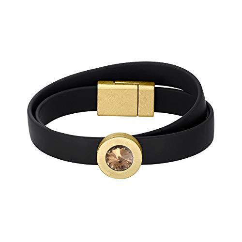 Heideman Armband Damen Colori Band schwarz-Gold 2 Fach aus Edelstahl schwarz und Gold farbend matt Armkette für Frauen mit wechselbaren Swarovski Kristall Bernstein und Weiss oder bunt
