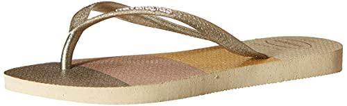 Havaianas Slim Glitter Palette, Tongues Mixte, Sand Grey, 37