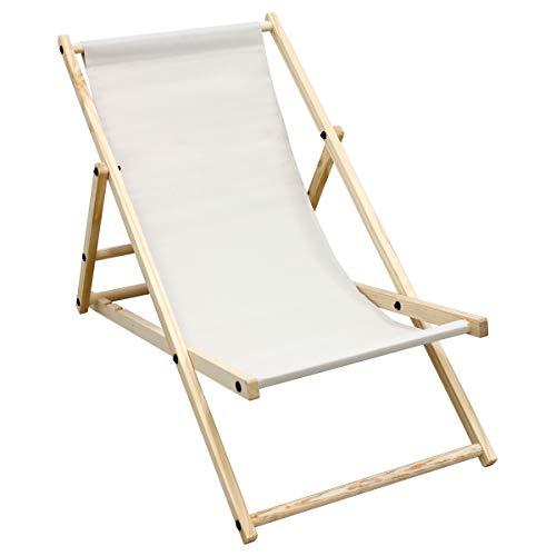 ECD Germany Chaise Longue Bain de Soleil de Jardin - Fauteuil de Plage Pliant - Fauteuil de Relaxation - Beige - Réglable - Chaise Longue en Bois - Résistant aux Intempéries - 120 kg - Patio Terrasse