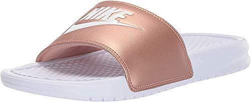 Nike Damen WMNS Benassi JDI Slide Sandal, White/White-Metallic Red Bronze, 36.5 EU
