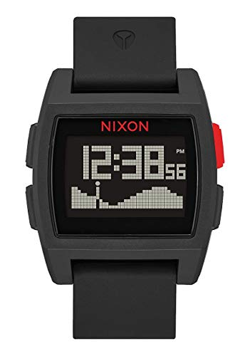 NIXON Base Tide A1104 - Black/Red - 100m Water Resistant Men's Digital Surf Watch (38 mm Watch Face, 23 mm Pu/Rubber/Silicone Band)