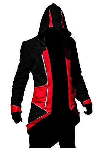 KIRALOVE Jacke des Assassins Creed - Cosplay - verkleidung - Halloween - Karneval - Cosplay - Mann - schwarz und rot größe XXXL Cosplay