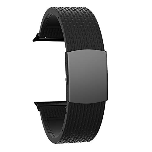 SOUWILA Compatible con Silicona Correa Reloj 38 mm 40 mm 42 mm 44 mm iWatch Series 6/5/4/3/2/1 Caucho Correa Reloj con Acero Inoxidable Hebilla Desplegable (42mm, Black-Black)