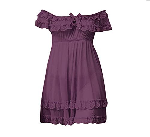 Ropa erótica Pijama de Encaje Sexy para Mujer Vestido de Talla Grande-Morado_5_XL