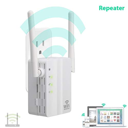MC.PIG WiFi 300Mbps Wi-Fi Extender Wireless WiFi Booster (2 Puertos Ethernet repetidor inalámbrico/Modo Ap, Plug and Play, WPS) 2 Antenas externas, Plug and Play