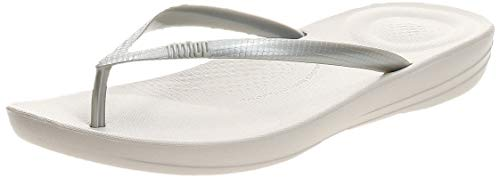 FitFlop Women's iQushion Ergonomic Flip-Flops, Silver, 8