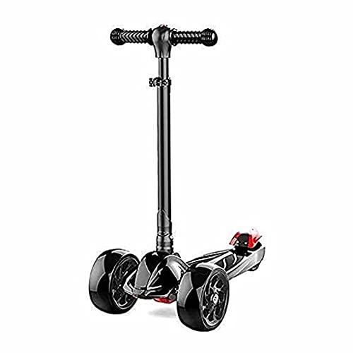 WZWHJ wunderschönen 3 Räder Kinderroller-Radroller-Stunt-Roller höhenverstellbarer Roller mit blinkenden PU-Rädern, Kinder (Farbe: Pink) (Color : Black)