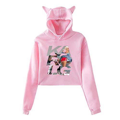 Yuanmeiju Karol G Sweatshirt No Pocket Cat Ear Capucha Celebrity Suéter for Women(S XXL)