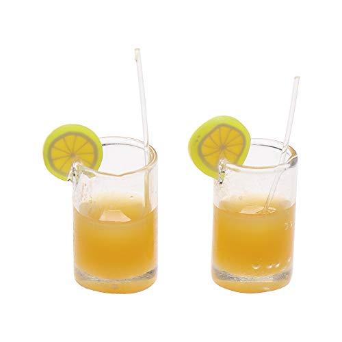 VAVAMAX 2/4 piezas de regalo mini juguete de cocina de hadas para jardín, modelo de comida en miniatura, bebidas, accesorios para casa de muñecas y tazas de agua de limón 4PCS-Orange Juice