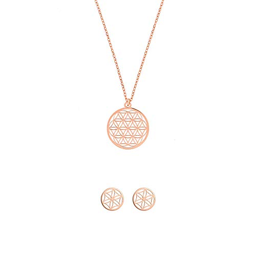 Blume des Lebens Schmuckset Halskette-Ohrringe 925 Silber rosevergoldet