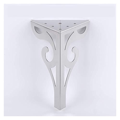 Edelstahl Möbelbeine, 4er-Set Modernes Metall Diamant Dreieck Möbelfüße mit Schrauben für Sofa Tischschrank Schrank, Silber.