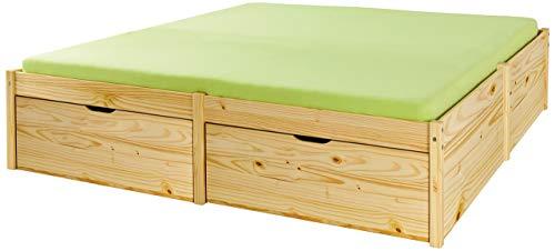 Inter Link Bett Bed Gästebett Funktionsbett Doppelbett Stauraumbett nachhaltigeres Massivholz Natur lackiert