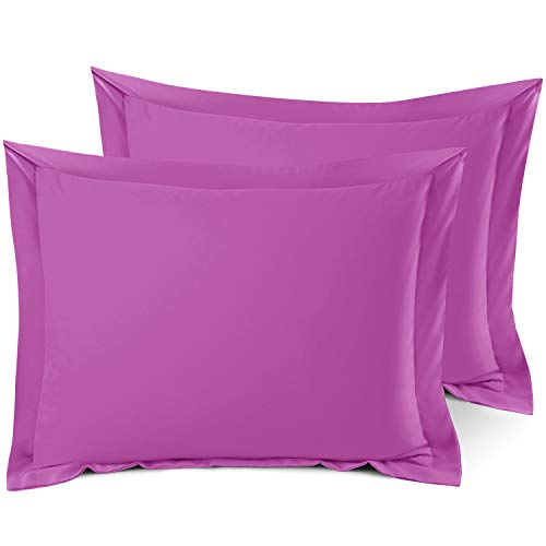 Nestl Soft Pillow Shams Set of 2 - Double Brushed Microfiber Hypoallergenic Pillow Covers - Hotel Style Premium Bed Pillow Cases, Standard - Orchid Purple