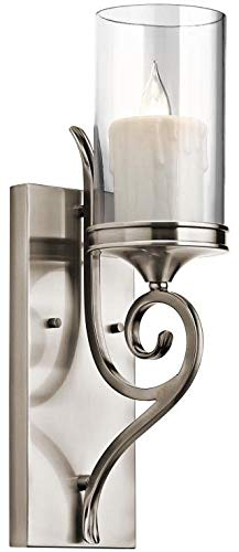 Kichler 45362CLP, Lara Candle Glass Wall Sconce Lighting, 1 Light, 60 Total Watts, Classic Pewter